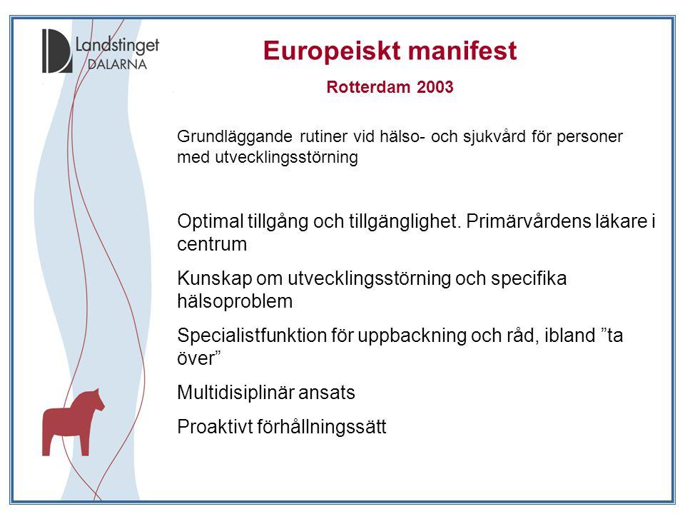 Europeiskt manifest Rotterdam 2003. Grundläggande rutiner vid hälso- och sjukvård för personer med utvecklingsstörning.