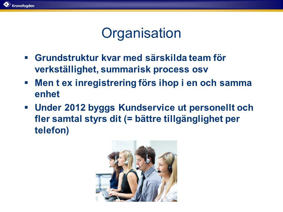 Organisation Grundstruktur kvar med särskilda team för verkställighet, summarisk process osv. Men t ex inregistrering förs ihop i en och samma enhet.