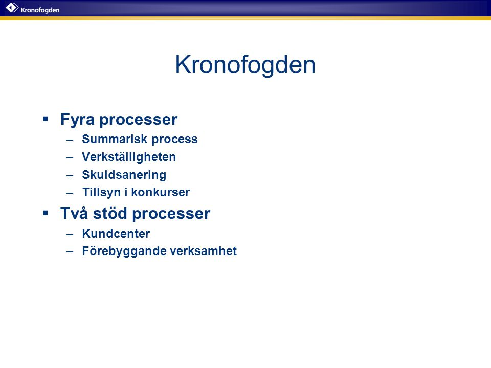 Kronofogden Fyra processer Två stöd processer Summarisk process