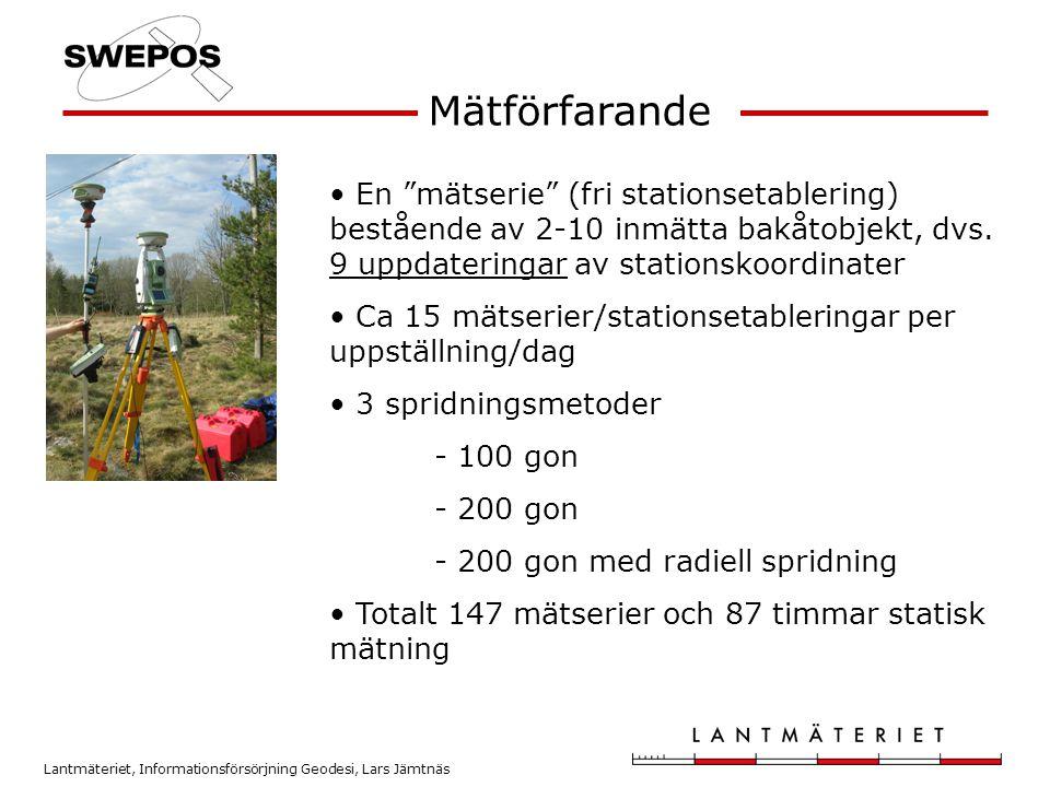 Mätförfarande En mätserie (fri stationsetablering) bestående av 2-10 inmätta bakåtobjekt, dvs. 9 uppdateringar av stationskoordinater.