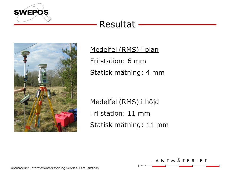 Resultat Medelfel (RMS) i plan Fri station: 6 mm Statisk mätning: 4 mm