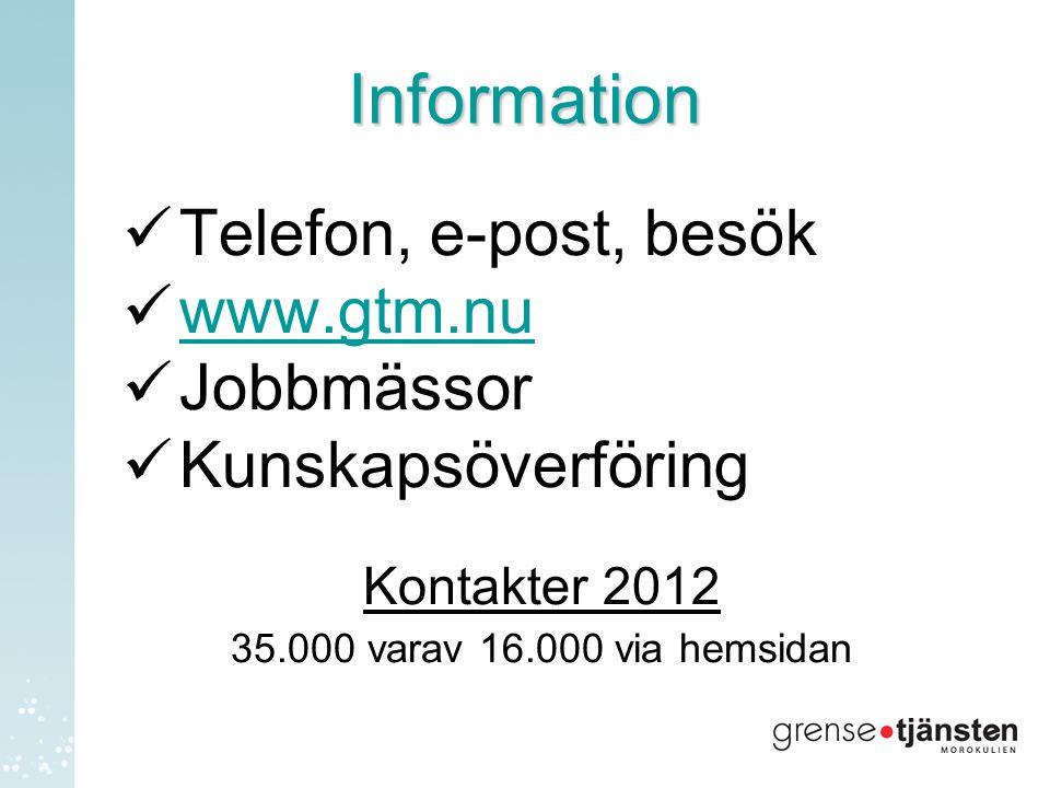 Information Telefon, e-post, besök www.gtm.nu Jobbmässor