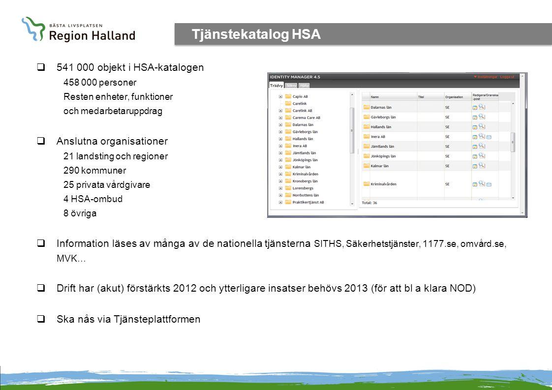 Tjänstekatalog HSA 541 000 objekt i HSA-katalogen