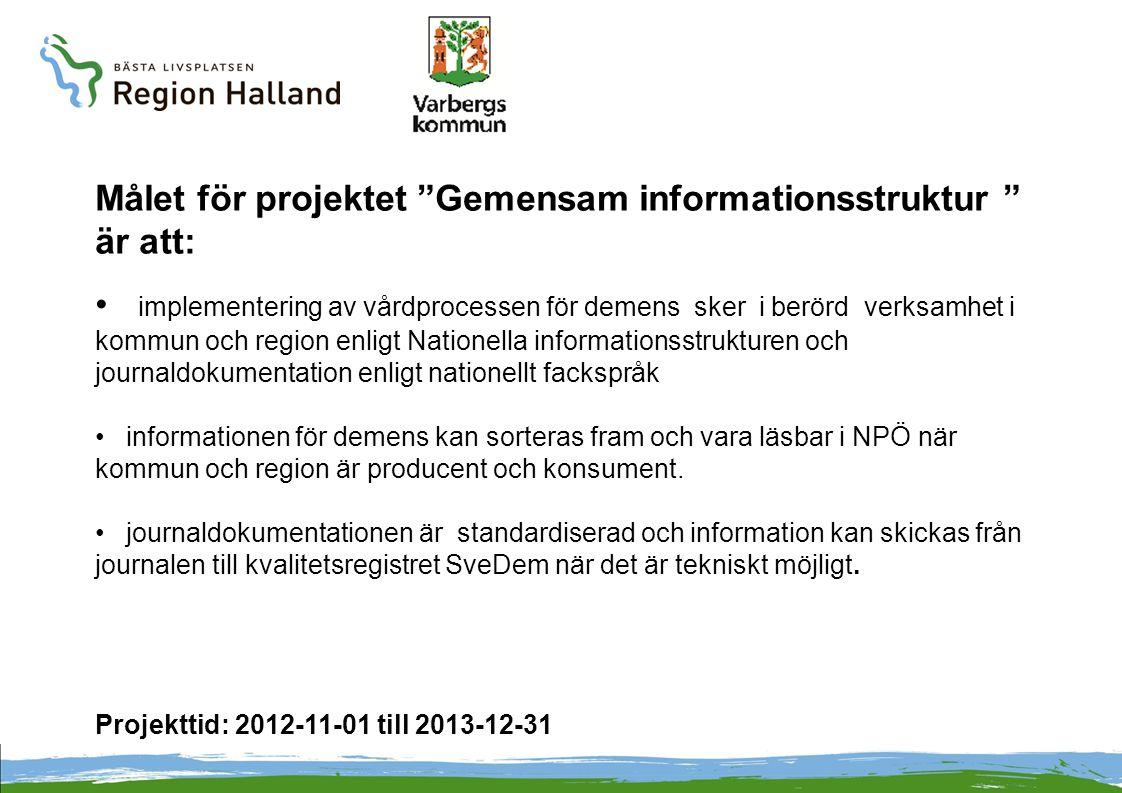 Målet för projektet Gemensam informationsstruktur är att: