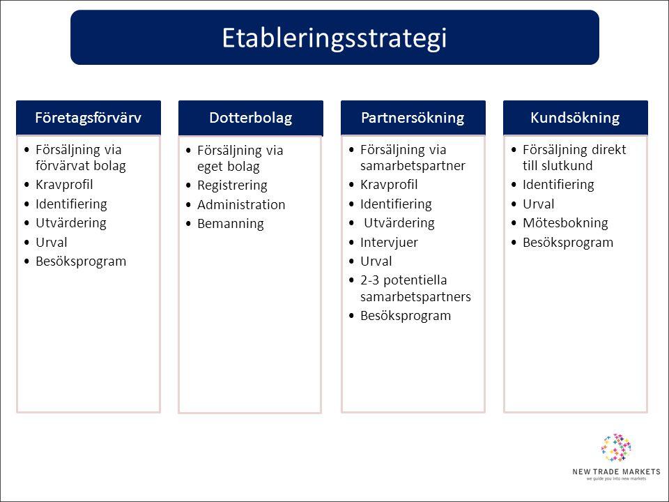 Etableringsstrategi Företagsförvärv Dotterbolag Partnersökning