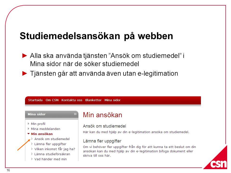Studiemedelsansökan på webben