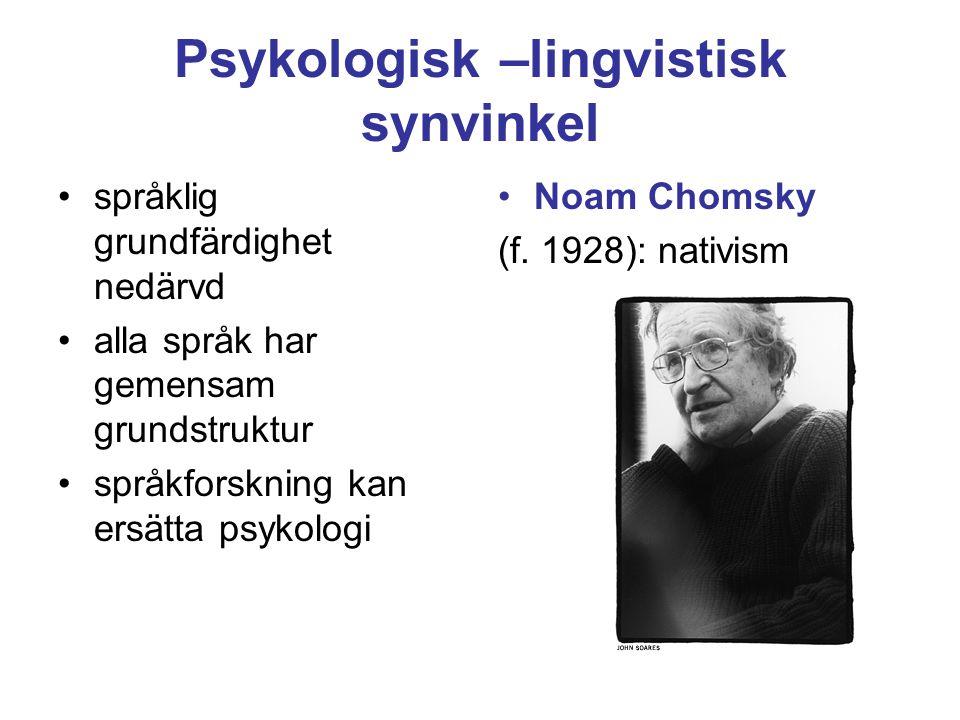 Psykologisk –lingvistisk synvinkel