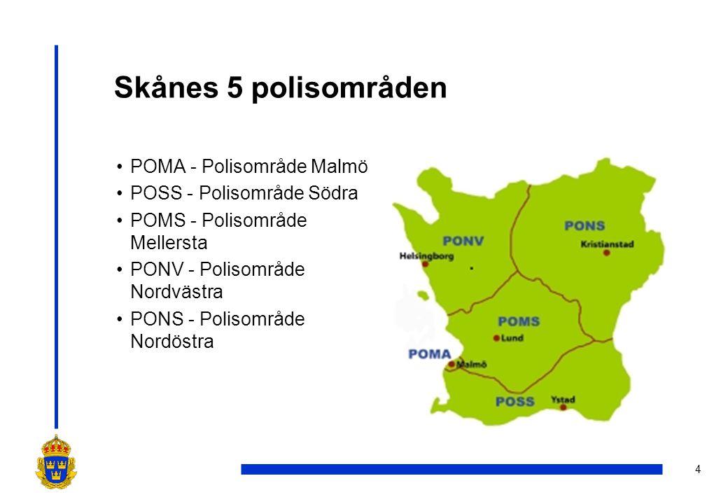 Skånes 5 polisområden POMA - Polisområde Malmö
