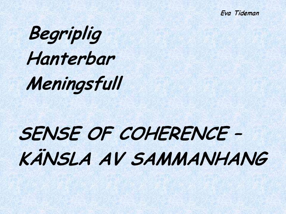 Hanterbar Meningsfull SENSE OF COHERENCE – KÄNSLA AV SAMMANHANG