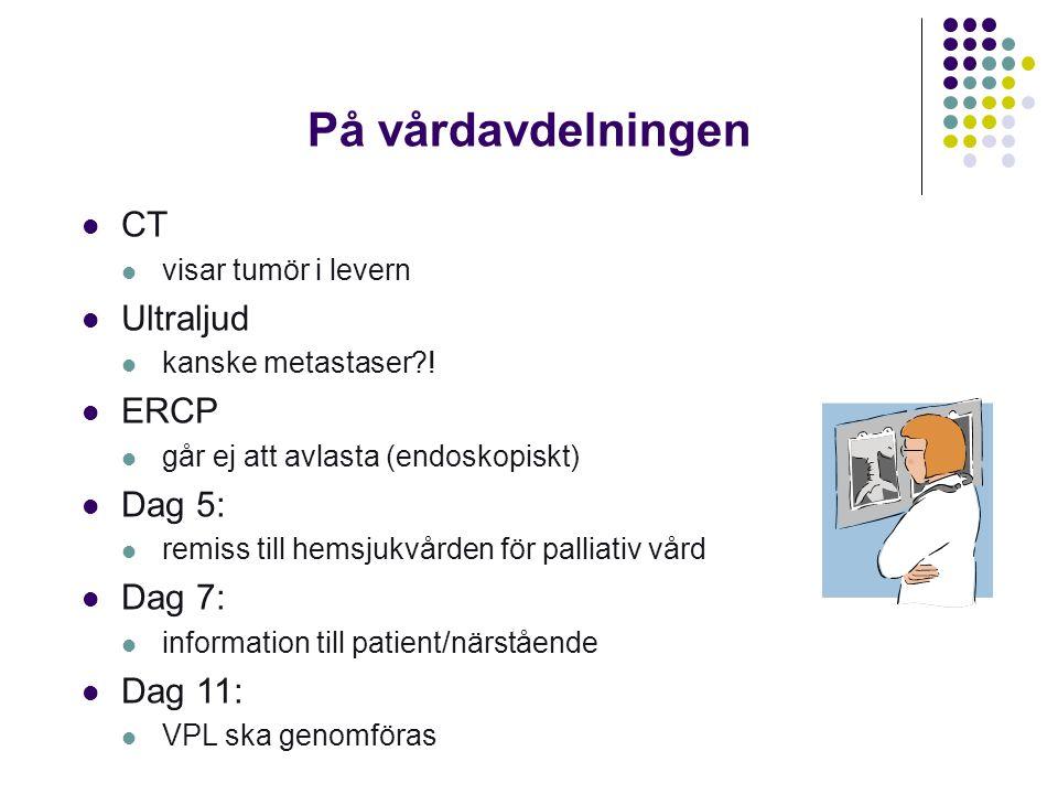 På vårdavdelningen CT Ultraljud ERCP Dag 5: Dag 7: Dag 11: