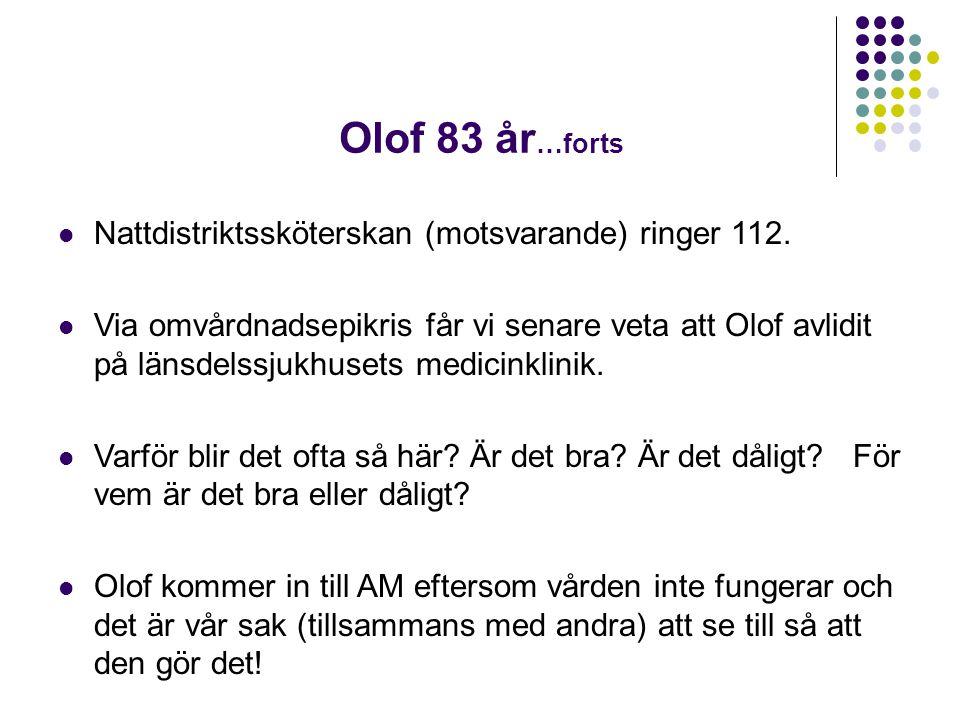 Olof 83 år…forts Nattdistriktssköterskan (motsvarande) ringer 112.