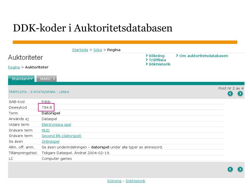 DDK-koder i Auktoritetsdatabasen
