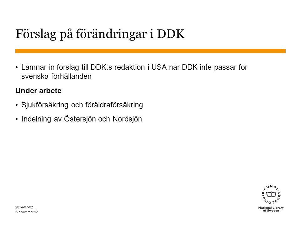 Förslag på förändringar i DDK