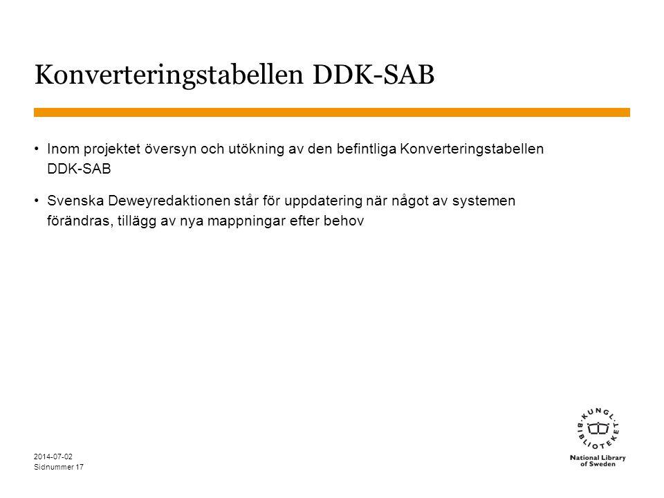 Konverteringstabellen DDK-SAB