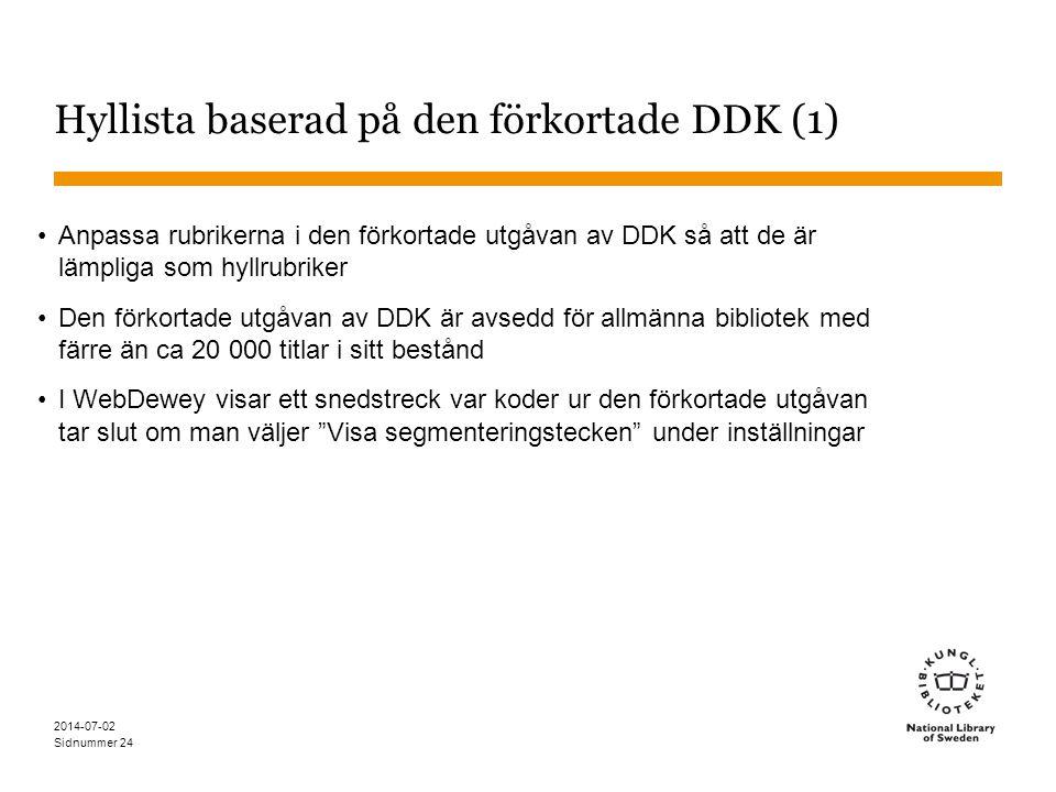 Hyllista baserad på den förkortade DDK (1)