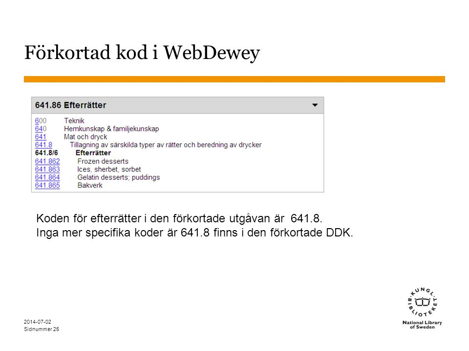 Förkortad kod i WebDewey
