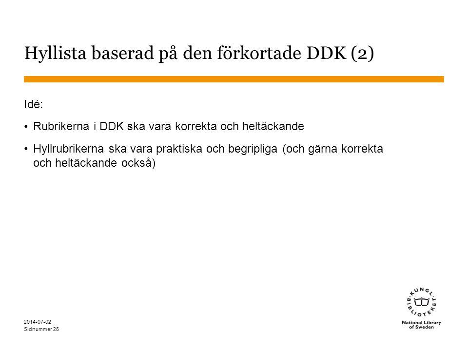 Hyllista baserad på den förkortade DDK (2)