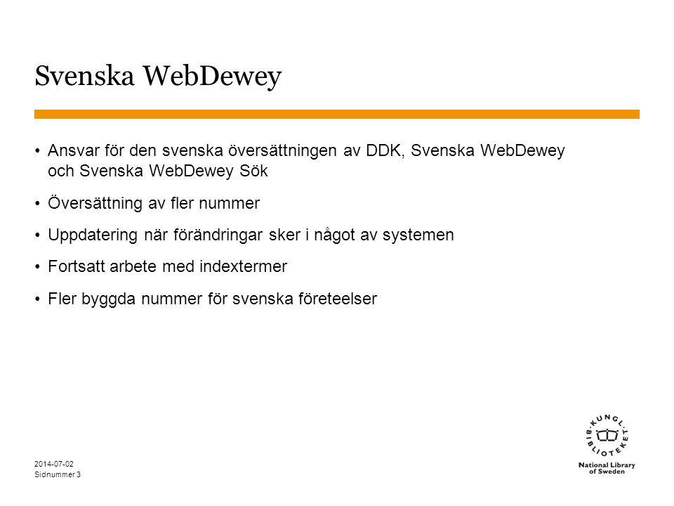 Svenska WebDewey Ansvar för den svenska översättningen av DDK, Svenska WebDewey och Svenska WebDewey Sök.
