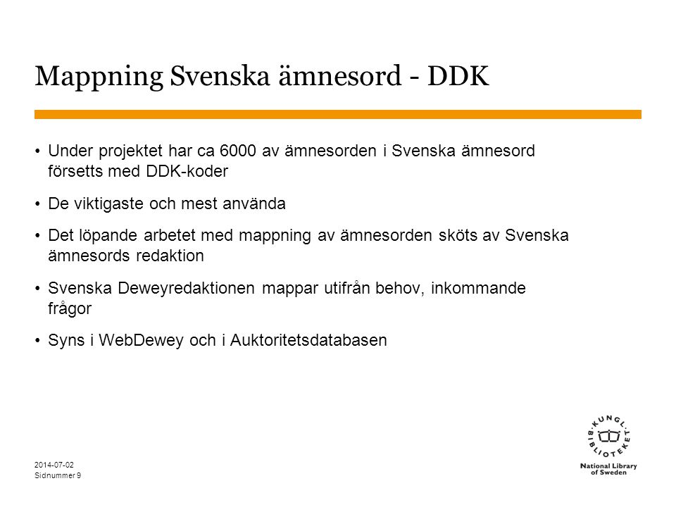 Mappning Svenska ämnesord - DDK