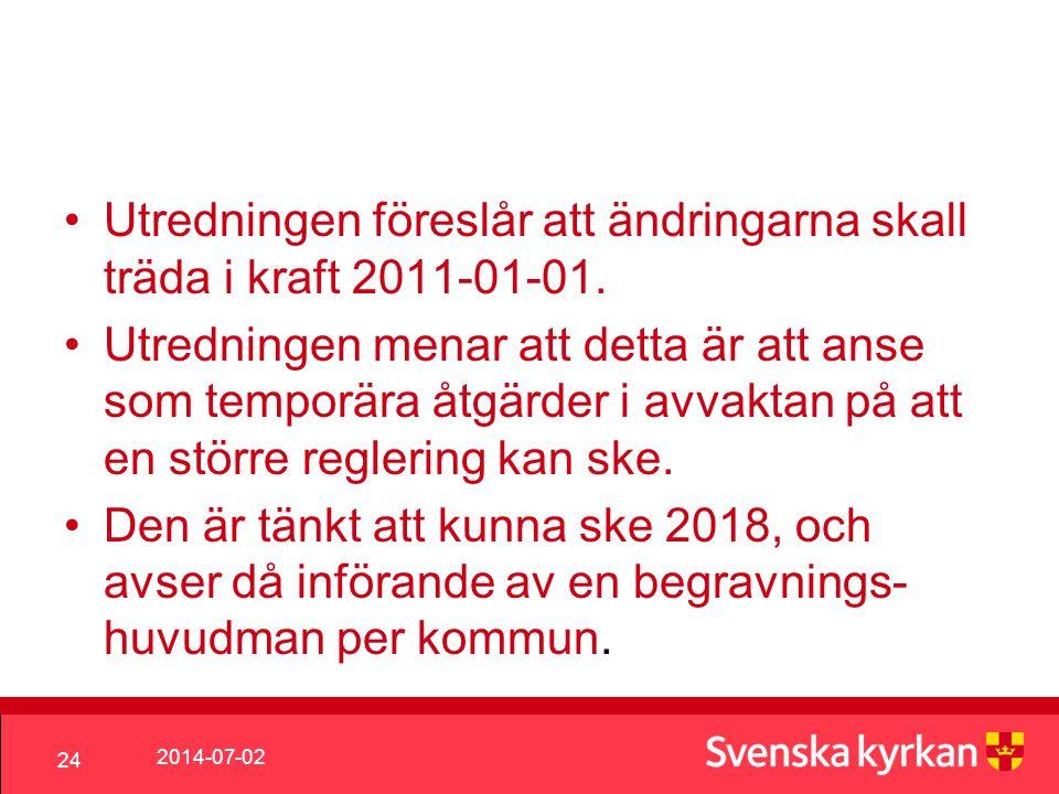 Utredningen föreslår att ändringarna skall träda i kraft 2011-01-01.