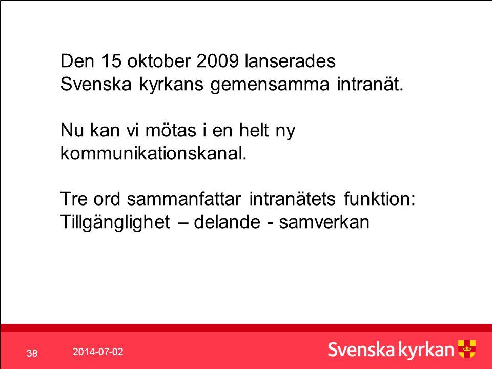 Den 15 oktober 2009 lanserades Svenska kyrkans gemensamma intranät.
