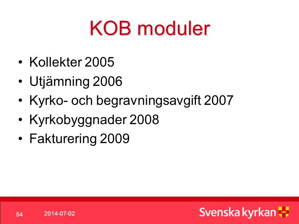 KOB moduler Kollekter 2005 Utjämning 2006