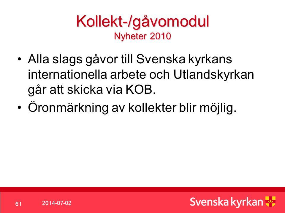 Kollekt-/gåvomodul Nyheter 2010