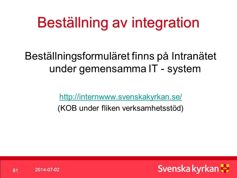 Beställning av integration