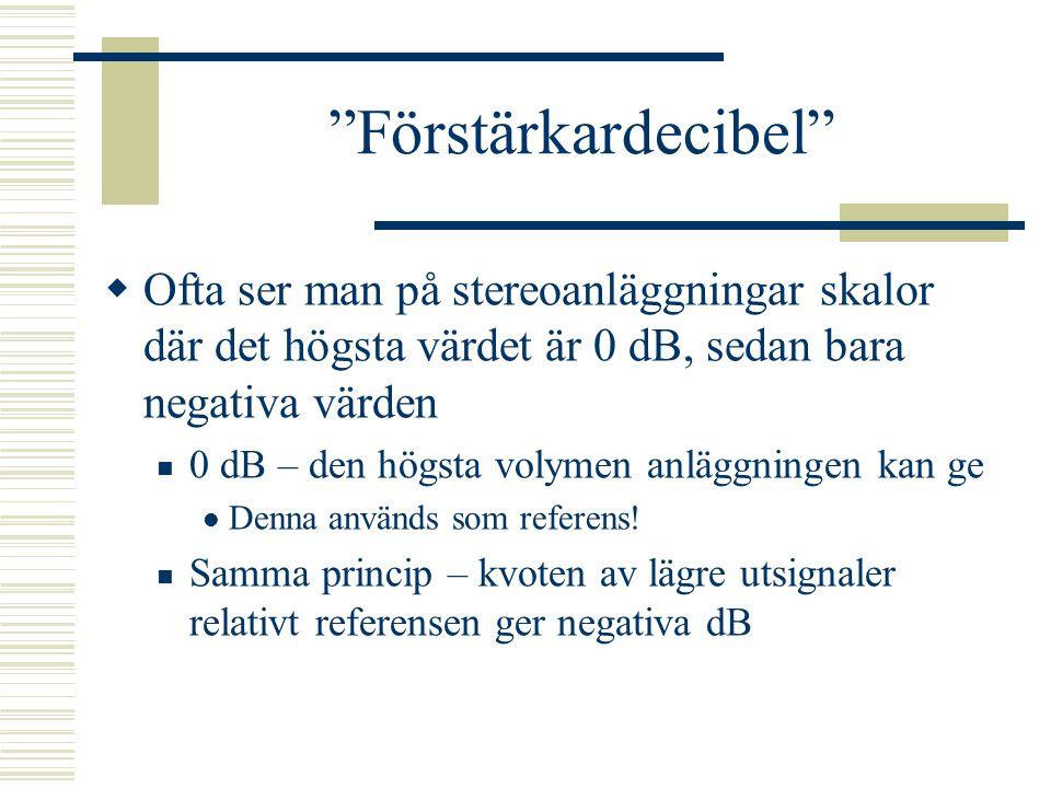 Förstärkardecibel Ofta ser man på stereoanläggningar skalor där det högsta värdet är 0 dB, sedan bara negativa värden.