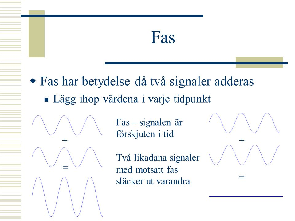 Fas Fas har betydelse då två signaler adderas
