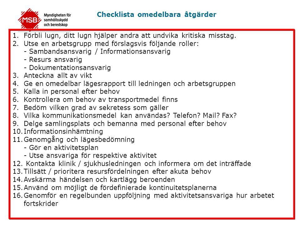 Checklista omedelbara åtgärder