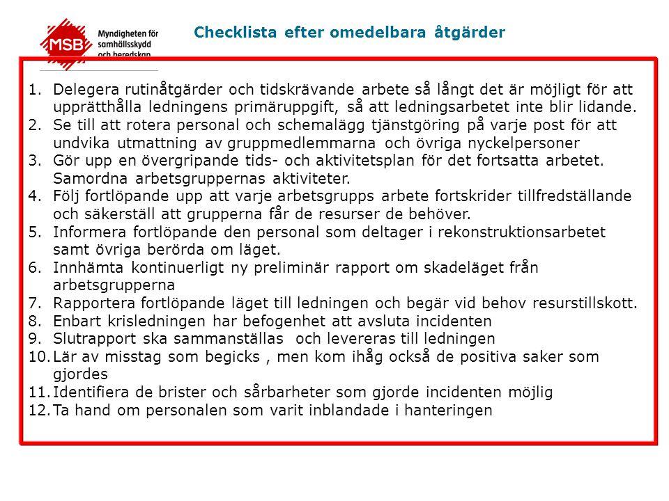 Checklista efter omedelbara åtgärder