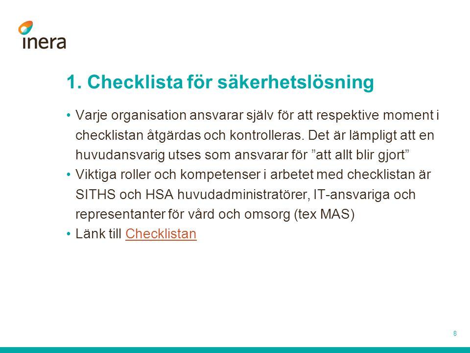 1. Checklista för säkerhetslösning