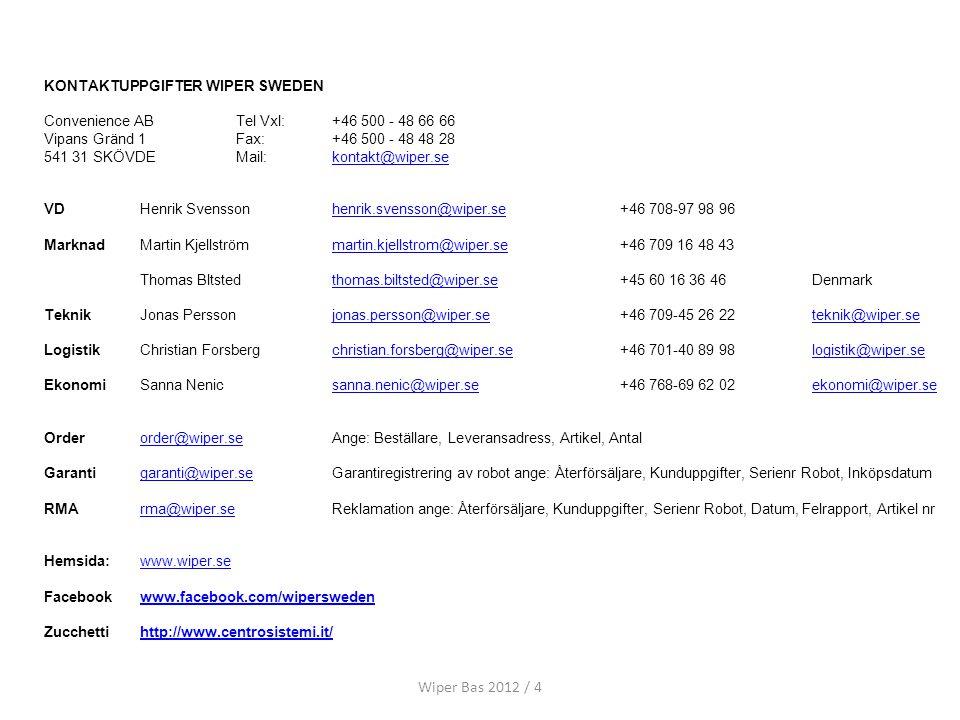 Wiper Bas 2012 / 4 KONTAKTUPPGIFTER WIPER SWEDEN