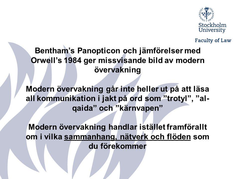 Bentham's Panopticon och jämförelser med Orwell's 1984 ger missvisande bild av modern övervakning