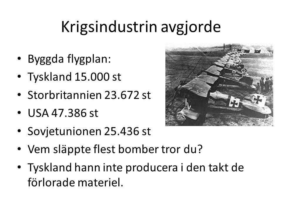 Krigsindustrin avgjorde