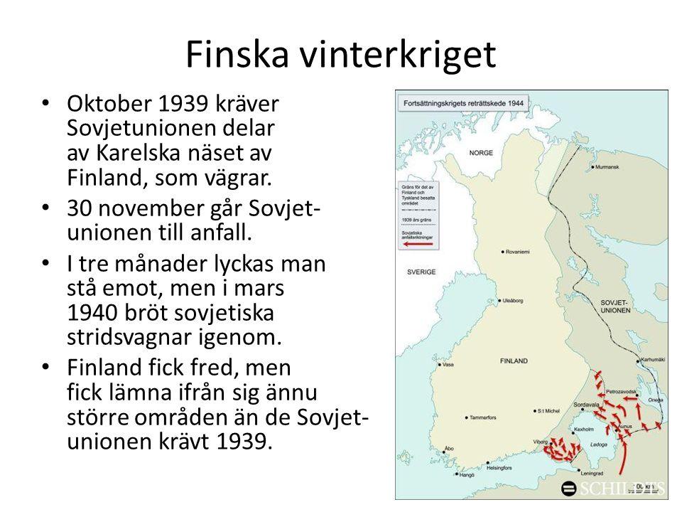 Finska vinterkriget Oktober 1939 kräver Sovjetunionen delar av Karelska näset av Finland, som vägrar.