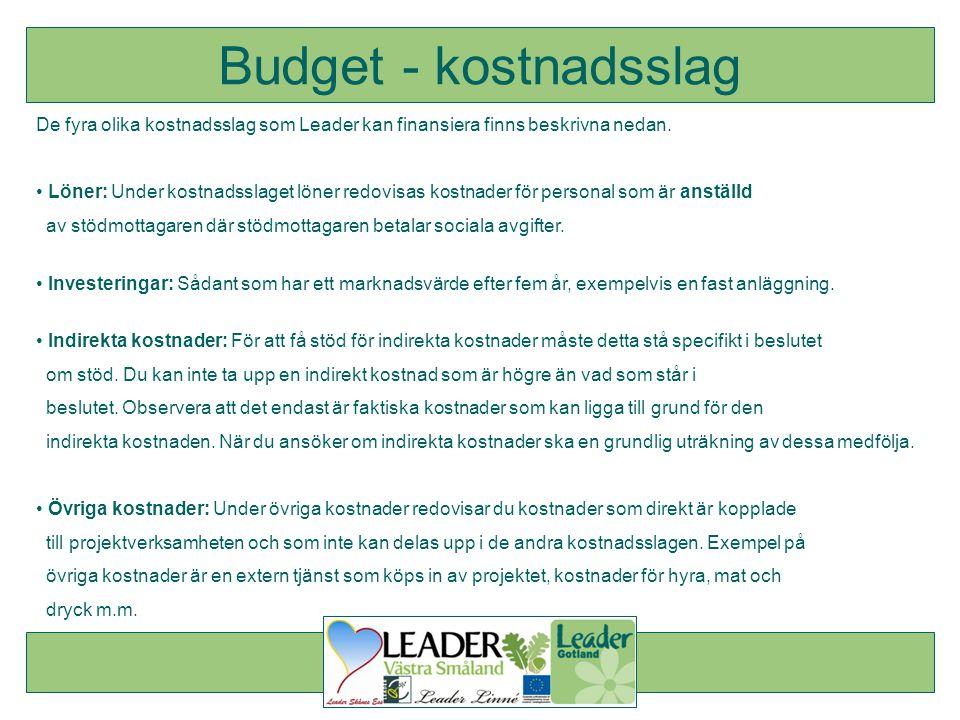 Budget - kostnadsslag De fyra olika kostnadsslag som Leader kan finansiera finns beskrivna nedan.