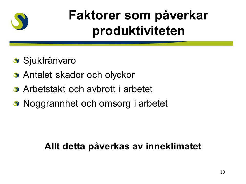 Faktorer som påverkar produktiviteten