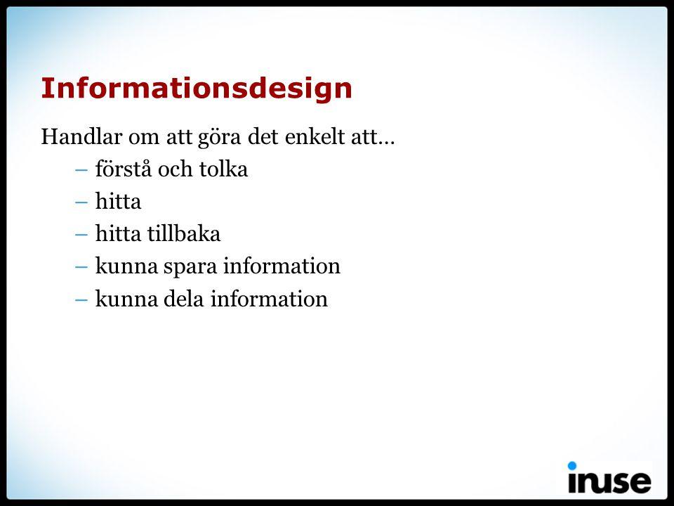 Informationsdesign Handlar om att göra det enkelt att…