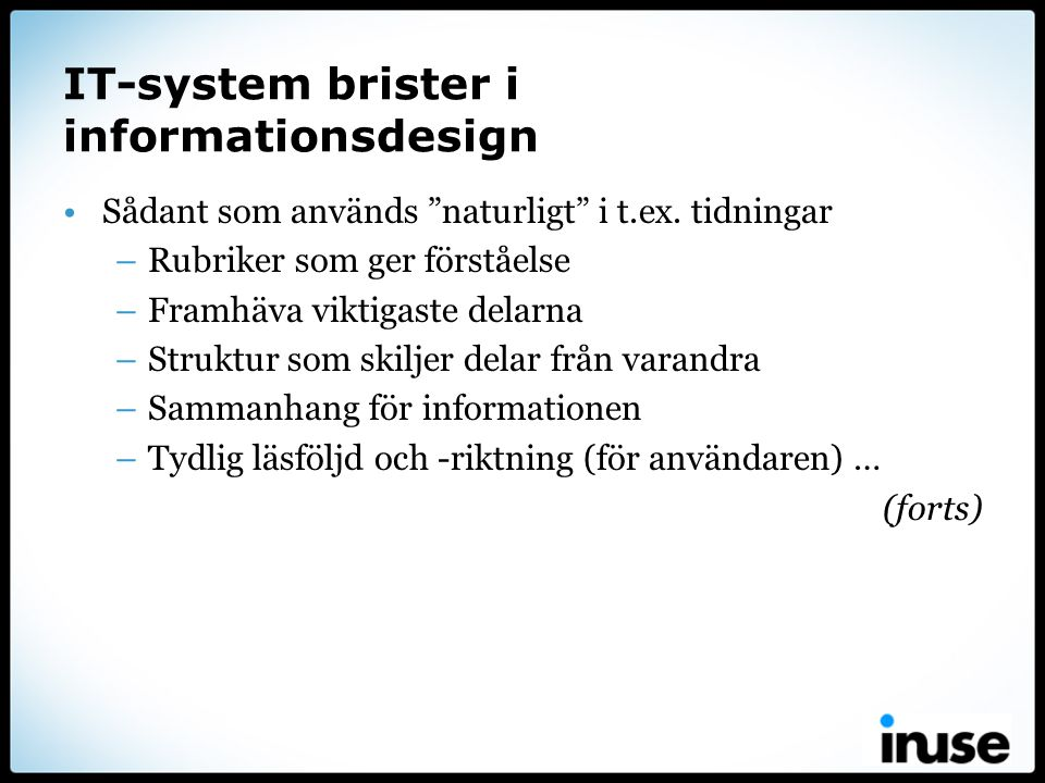 IT-system brister i informationsdesign