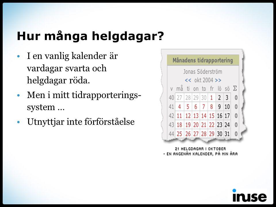 Hur många helgdagar I en vanlig kalender är vardagar svarta och helgdagar röda. Men i mitt tidrapporterings-system …