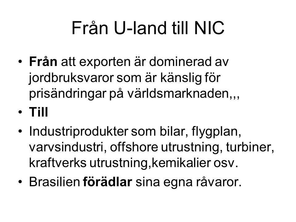Från U-land till NIC Från att exporten är dominerad av jordbruksvaror som är känslig för prisändringar på världsmarknaden,,,