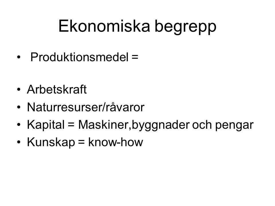Ekonomiska begrepp Produktionsmedel = Arbetskraft