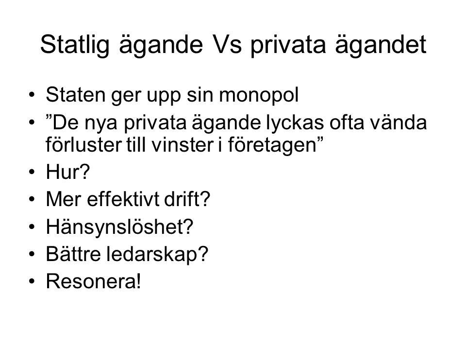 Statlig ägande Vs privata ägandet