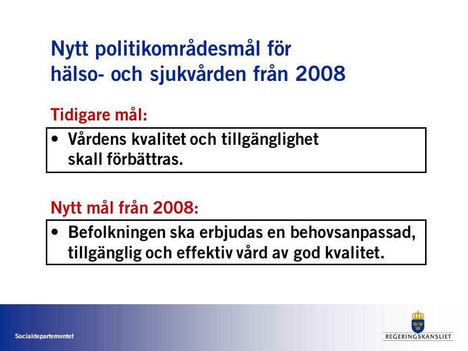 Nytt politikområdesmål för hälso- och sjukvården från 2008