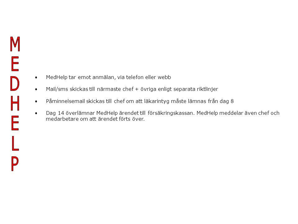 MEDHELP MedHelp tar emot anmälan, via telefon eller webb