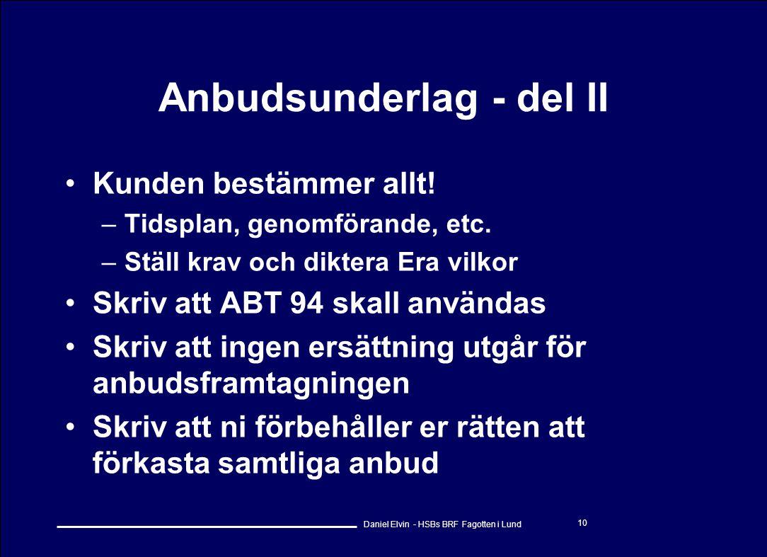 Anbudsunderlag - del II