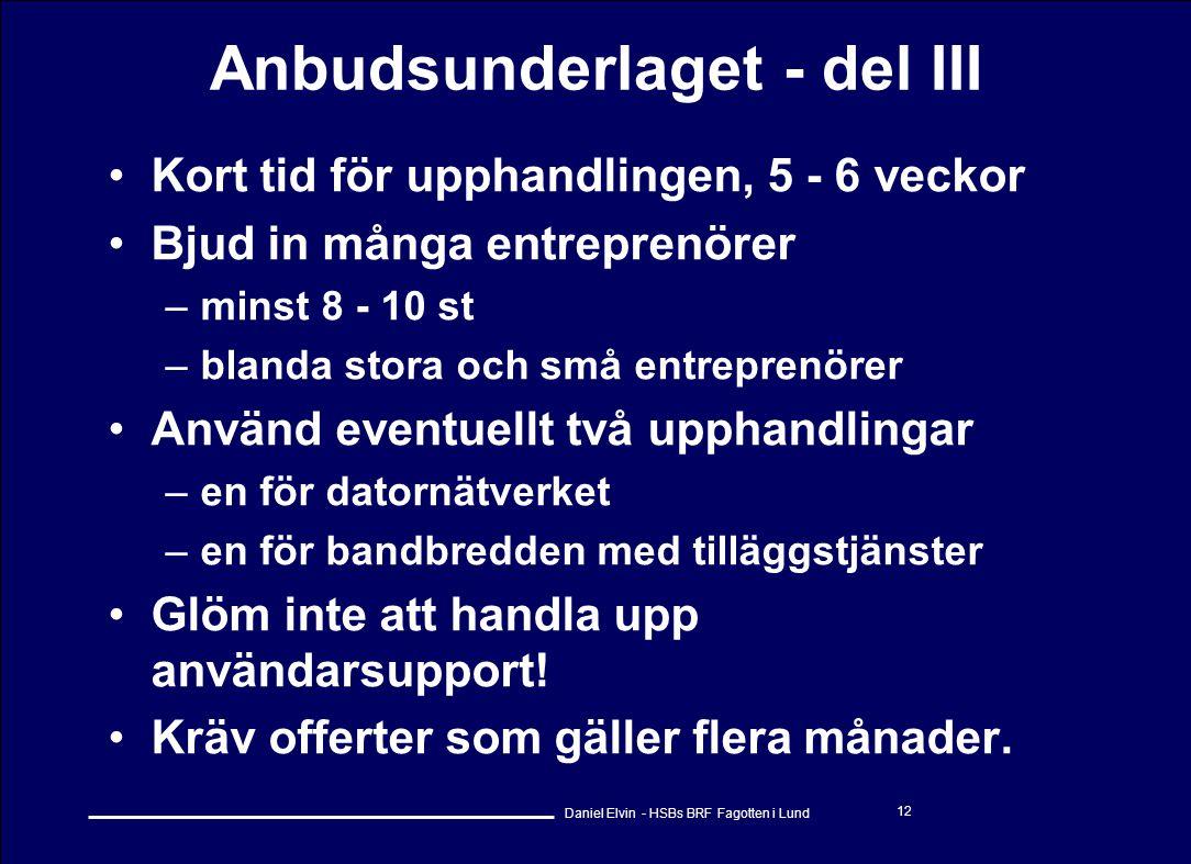 Anbudsunderlaget - del III