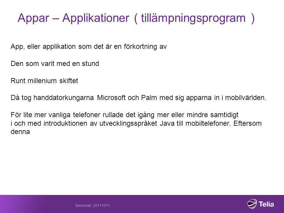 Appar – Applikationer ( tillämpningsprogram )
